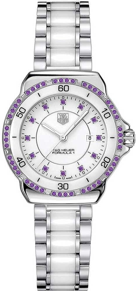 Tag heuer, orologio per donna, in acciaio inossidabile e ceramica con pietre ametiste WAH1318.BA0868
