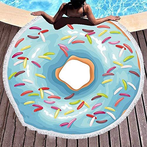 Bradoner Toallas de baño Redondo Beach Donut, Hippie Throw Manta Playa Y Toalla De Viaje Paño De Mesa Meditación Estera De Yoga Tapiz De Pared Tapiz Natación Piscina Mantón Roundie Camping 150x150cm