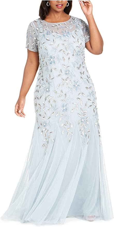 Vintage 1920s Dresses – Where to Buy Adrianna Papell Womens Floral Beaded Godet Gown  AT vintagedancer.com