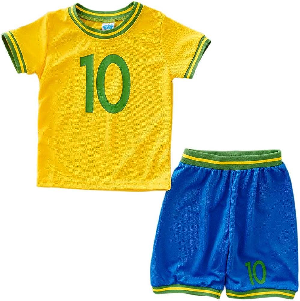ZETIY Toddler Little Boys' Active Mesh Soccer Jersey and Shorts Sets