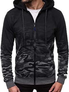 IZHH Mens Zip Hoodie Sweatshirt Camo Hooded Autumn Coat with Hood Fashion Jumper