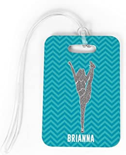Cheerleading Luggage & Bag Tag | Personalized Faux Glitter Chevron Pattern | Standard Lines on Back | MEDIUM | TEAL