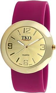 TKO ORLOGI Women Fashion Gold Metal Slap Watch with Hypoallergenic Silicone Slip-On Bracelet