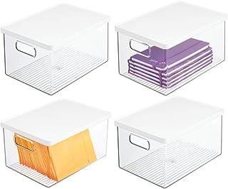mDesign boîte de rangement pour le bureau (lot de 4) – bac de rangement en plastique robuste – boîte plastique avec couver...