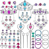 NINAOR 56 Pack Princess Jewelry for Girls Princess Dress Up Accessories Kids Play Jewelry for Girls Included Crown Wand Necklace Bracelet Rings Earrings Great as Princess Party Decorations