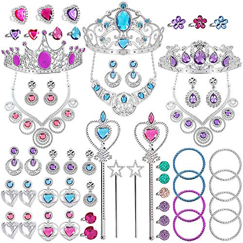 TAGI 56 Pack Princess Jewelry for Girls Princess Pretend Jewelry Toys Play Jewelry for Girls Included Crown Wand Necklace Bracelet Rings Earrings Great as Princess Birthday Party Supplies