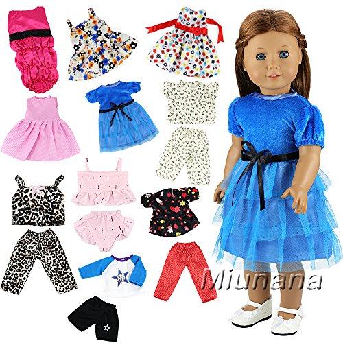 Miunana 10 Sets Kleidung Dress Kleider Hemd Hose Sommer Bikini Urlaub für 18 inch American Girl Dolls