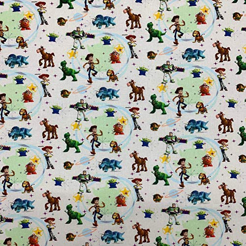 Toy Story Children's 100% Cotton Branded Novelty Designer Digital Printed Fabric Craft Cushion Curtain Mask | 55' - 140cm | Sold Per Half Metre