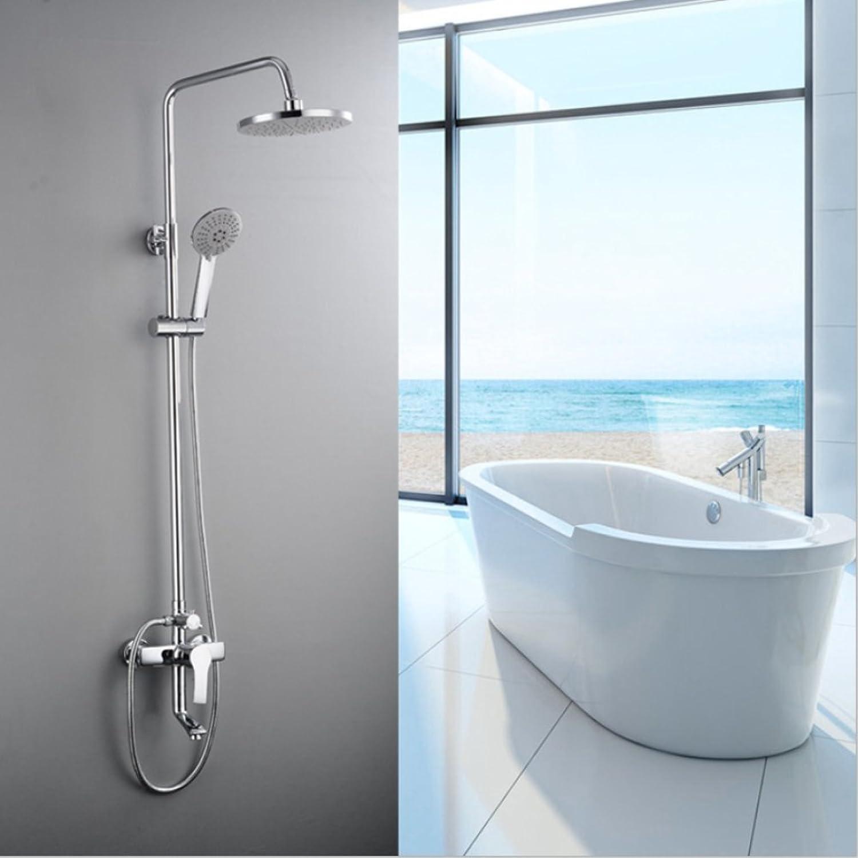 ZHH shower set brass faucet brass lift three-speed shower bathroom shower set rain shower wall-mounted shower hand shower