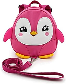 Baby Toddler Walking Safety Backpack Little Kid Boys Girls Anti-lost Travel Bag Harness Reins Cute Cartoon Penguin Mini Backpacks with Safety Leash for Baby 1-3 Years Old (Pink)