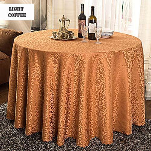 WJDHSG manteles 1 unid Multi tamaño poliéster Blanco Hotel Cena Mesa Mantel Redondo Lavable Oro Crochet Mantel Floral para decoración de Banquete de Boda, café Claro, Redondo 260 cm