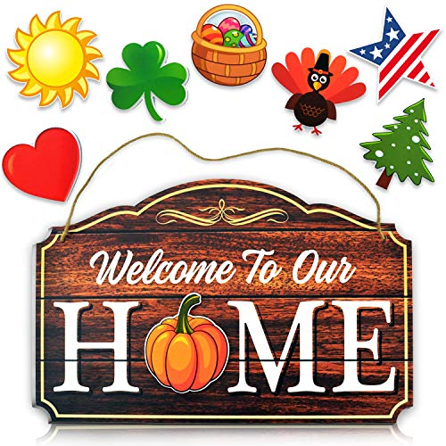 Bigtime Signs Welcome to Our Home - Wood Grain Print Door & Wall Decor - 8 Interchangeable Holiday Magnets Halloween, Easter, Fall, Christmas, Valentines - Front Porch Hanging Plaque Decoration Brown