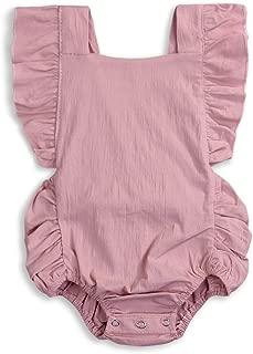 KCSLLCA Baby Girls Romper Solid Color Ruffle Sleeveless Backless Onesies