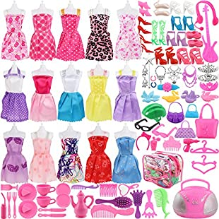 106 Pcs Barbie Doll Clothes Set Include 15 Pack Barbie Clothes Party Grown Outfits And Randomly 90 Pcs Different Barbie Doll Accessories - The Great Gift For Little Girl