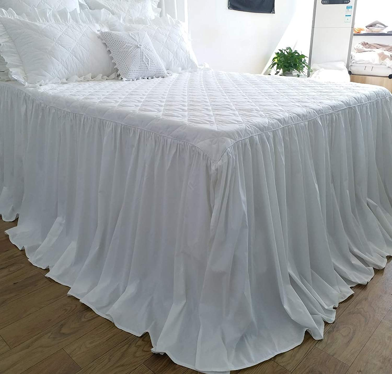 Queen's House Snow White Quilted Bedspread Bed Skirt Coverlet King Size-True White
