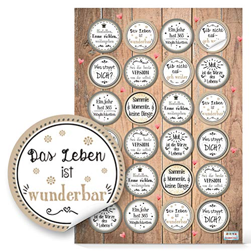 Logbuch-Verlag 96 Aufkleber Motivation Sprüche rund beige grau Motivationssticker Belohnung Mut Glück Wünsche basteln dekorieren Verpackung