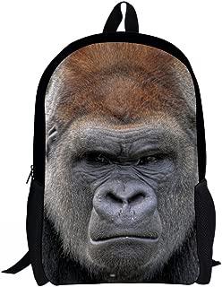 Travel Bag Backpack, Personalized Cute 3D Animal Print Children School Bag Bookbag Kids Backpack Gorilla Designer