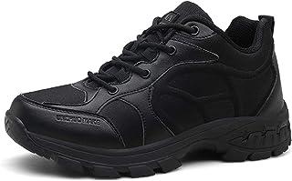 PULUSI Chaussures de randonnée basses pour homme, résistantes aux chocs, antidérapantes et en cuir, pour l'escalade, la ch...