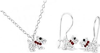 Ragazza per bambini in argento Sterling 925scintillante cristallo cane Trafitto Ear loop orecchini e collana set regalo