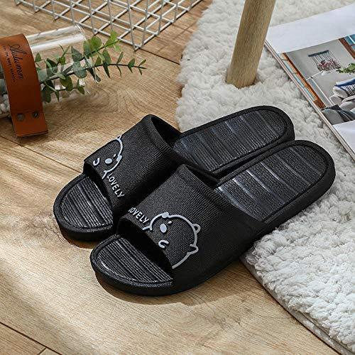 ENLAZY Imágenes de Dibujos Animados Zapatillas de Sandalia para Ducha Zapatillas Unisex para Parejas Zapatillas de casa Sandalia de Playa Secado rápido Antideslizante,Negro,39/40