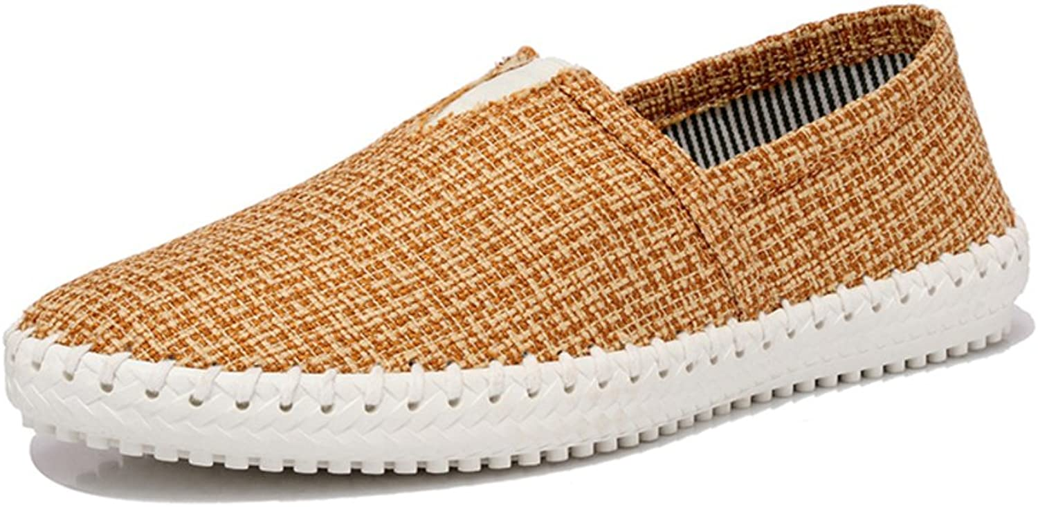 WLJSLLZYQ Men's Summer shoes Linen Lazy Loafers air Pedal shoes
