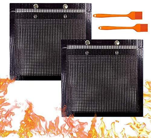 YBB 2 Pcs BBQ Grill Mesh Bag with 2 Pcs Silicone Brush Non Stick Large BBQ Baked Grilling PTFE product image