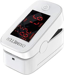 Oxímetro de pulso de dedo con pantalla LED, monitor de frecuencia cardíaca para el hogar y los deportes,monitor de saturación de oxígeno para adultos y niños (Blanco)
