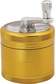 DCOU Hand Cranked Premium Grinder Unbreakable Aluminum Grinder for Herb and Spice 4 Parts 2.2 Inch (Gold)