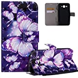 HMTECH Huawei Y3 2017 Case 3D Purple Butterfly PU Leather