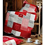 Lovely Casa Arkansas Boutis avec 2 Taies Polyester Rouge 220 x 240 cm