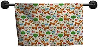 xixiBO Wholesale Towel W 28 x L 14(inch) a lot of Towels,Cartoon Animal,Baby Deer and Other Forest Elements Mushrooms Butterflies Flowers and Nuts,Multicolor