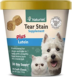 NaturVet – Tear Stain Plus Lutein | Eliminates Unsightly Tear Stains | Enhanced with Cranberry Extract, Calcium Ascorbate ...