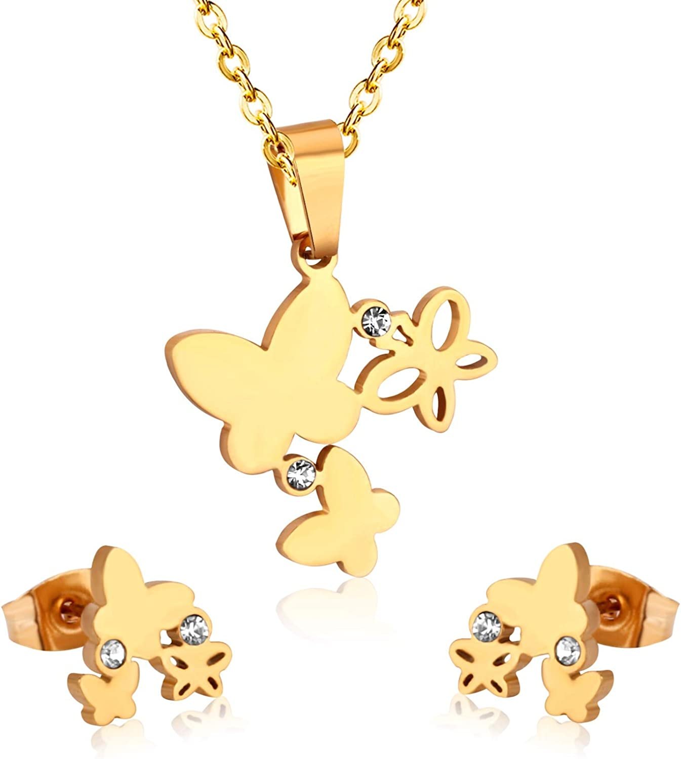 Fashion Butterfly Necklace Earrings Jewellery Set for Women Gold-Color Crystal Girls Dubai Wedding Jewelry Sets