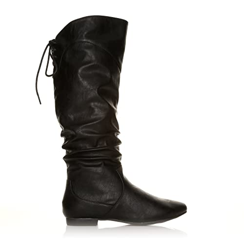 womens black mid calf flat boots