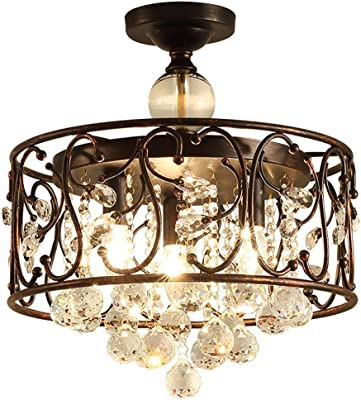 Chandeliers Bronze Crystal Chandelier Lighting Antique Farmhouse Flush Mount Light Fixture 3 Light Ceiling Light Fixturess