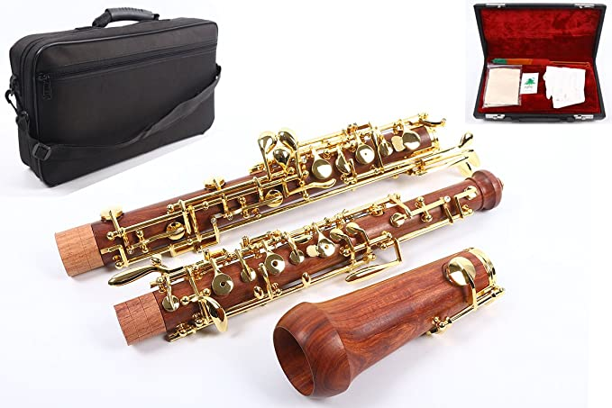 Yinfente Professional Oboe C key left F Resonance semi-automatic Rosewood Oboe Case + Oboe Parts (Rosewood)
