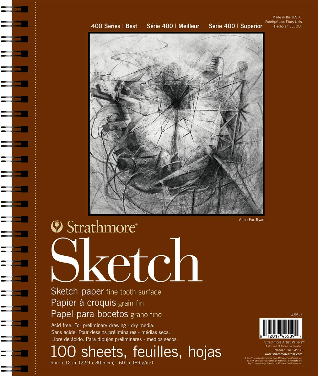 Strathmore 455-3 400 Series Sketch Pad, 9x12 Wire Bound, 100 Sheets