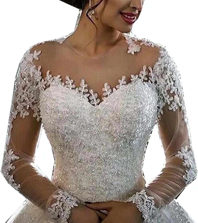Yilian Women's Long Sleeves Wedding Dresses Luxury Lace Beading Bridal Gowns