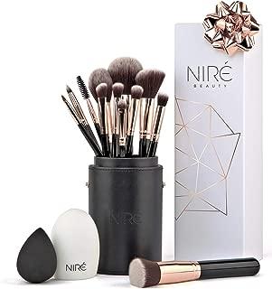 Artistry Set de Niré: brochas de maquillaje veganas con estuche de brochas, esponja Niré Beauty y cepillo limpiador de brochas