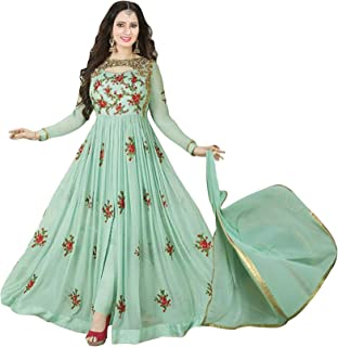 Sukhvilas Fashion Women's Georgette Semi-Stitched Embroidery Anarkali Churidar Salwar Suit (Pista Green, Free Size)