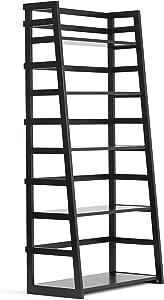 Simpli Home Acadian Solid Wood 63 inch x 30 inch Rustic Ladder Shelf Bookcase in Black