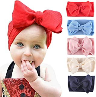 Byinns Baby Big Bow Headbands Turban Knotted Wrap Soft for Newborn Toddler Children Infant Girls 5 Pack Hair Accessories