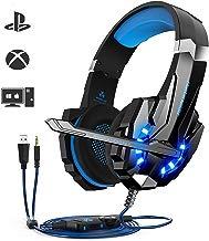 Auriculares Gaming PS4,Cascos Gaming, Auriculares Cascos Gaming de Mac Estéreo con Micrófono Juego Gaming Headset con 3.5mm Jack Luz LED Bajo Ruido Compatible con PC/Xbox One/Nintendo Switch/Móvil