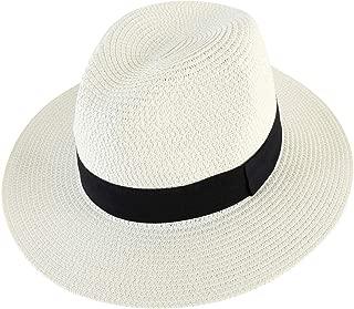 Lanzom Men Wide Brim Straw Foldable Roll up Hat Fedora Summer Beach Sun Hat UPF50+