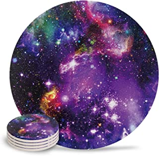 Ceramic Coasters for Drinks - Purple Marvel Nebula Galaxy Design Absorbing Stone Coasters with Cork Base Suitable for Kinds of Mugs and Cups - Set of 4