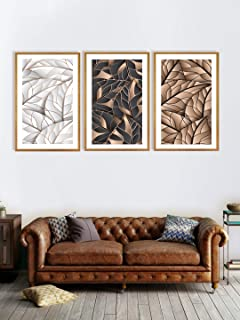 999Store Fiber paintings for living room Wall Frames décor home with frame wall painting 3 piece canvas set of golden & Bl...