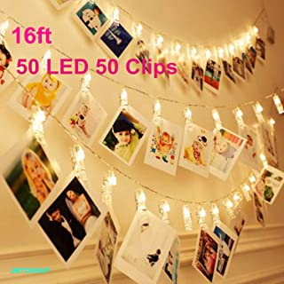50 LEDs 50 Photo Clips String Fairy Light Decoration For Home Living Bedroom Indoor Christmas Party Decoration for Photo Picture Hanging display,3AA Battery Operated (16ft Warm White)