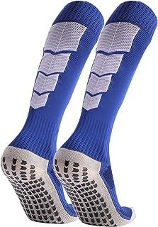 Manbozix, Calcetines de Los Hombres Calcetines de Fútbol Calcetines Deportivos Antideslizantes Calcetines Transpirables Calcetines de Entrenamiento Equipo Calcetines de Tripulación 38-44, Azul
