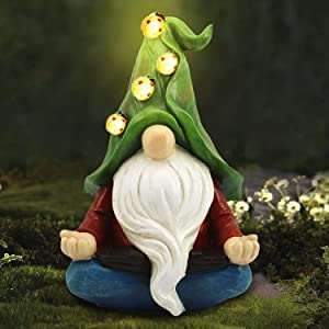 Garden Gnome Statue,Resin Outdoor Gnomes Statues Decor Carrying 4 Ladybug with Solar LED Lights,Outside Summer Decorations for Patio Yard Porch Lawn,Ornament Gift