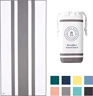 Microfiber Beach Towel by Laguna Beach Textile Co - Pool, Gym, Yoga - Extra Large, Fast Drying, and Sand Free - Quarry Gray